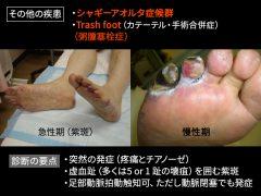 大動脈に発生した動脈硬化粥腫〔おからの様な微小コレステロール塊〕が血管内に破裂して流出し、足趾の微小血管を閉塞させる。最初は足底紫斑を呈するが、重症では激痛を伴って足趾壊疽を発生する